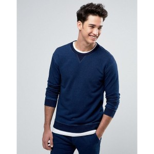 ベネトン メンズ パーカー&スウェット アウター United Colors of Benetton Sweatshirt in Washed Indigo Blue 901