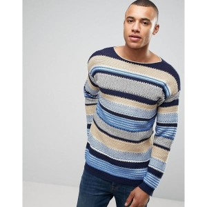 ベネトン メンズ カーディガン アウター United Colors of Benetton Crew Neck Knit in Loose Stripe Woven Detail Blue 901