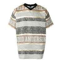 Astrid Andersen - striped logo T-shirt - men - シルク/ポリエステル - S