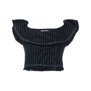 T By Alexander Wang - pinstriped cropped top - women - コットン - 2