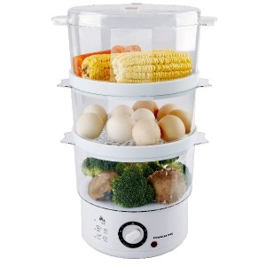 Ovente FS53W 7.5-Quart 3-Tier Electric Vegetable and Food Steamer, White by OVENTE