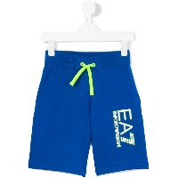 Ea7 Kids - printed logo shorts - kids - コットン - 12歳
