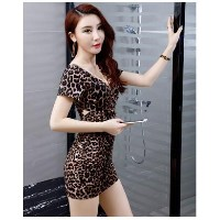 Deep V Collar Leopard Leopard Sexy Dress Short Sleeve Slim Style Bunny Skirt Tide