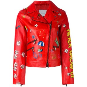 Mira Mikati - multi-prints biker jacket - women - レザー/ポリエステル - 40
