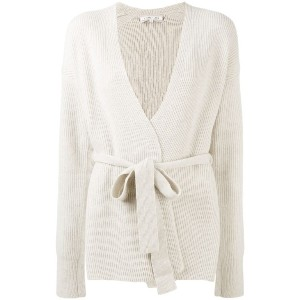 Helmut Lang - belted ribbed cardigan - women - カシミア/ウール - XS