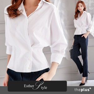[Esther Style] Korea Best Seller / Wrap Type Blouse / Office Wear / High Quality / body shaping /