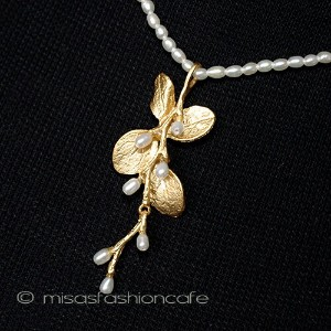 MichaelMichaud (マイケルミショー) 真珠 24k ネックレス パールネックレス 植物モチーフ ギフト プレゼント MADE IN USA