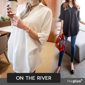 ★ ontheriver ★Loose Fit / Plus size Long Shirts / Dress / Korean Fashion / Super Sale / Formal wear