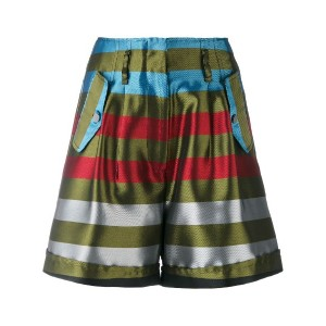 Isabelle Blanche - high waist striped shorts - women - ポリエステル - M