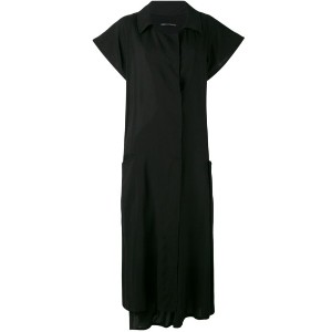 Yohji Yamamoto - open neck shirt dress - women - コットン/Tencel - 2