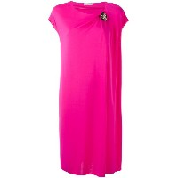 Lanvin - draped dress with crystal corsage - women - ビスコース - 40