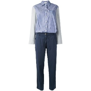 Semicouture - button up contrast jumpsuit - women - コットン/リヨセル - 44