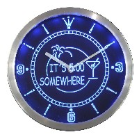 LEDネオンクロック 壁掛け時計 nc0268-b ITS 5:00 SOMEWHERE MARGARITA Neon Sign LED Wall Clock