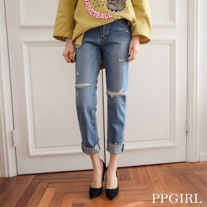 送料 0円★PPGIRL 9245 want denim jeans/straight pants/damage/vintage/basic / シンプル パンツ / ビンテージ・ルック