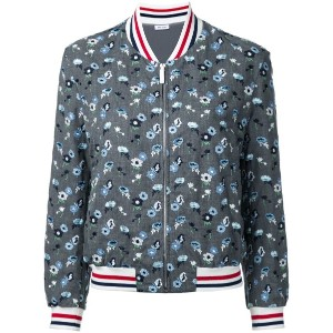 Thom Browne - embroidered flower bomber jacket - women - ウール - 40