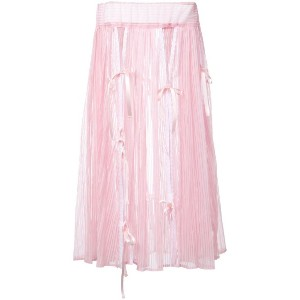 Akiko Aoki - midi pleated skirt - women - ナイロン/ポリエステル - M