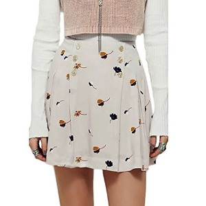PERSUN Women s Chic Basic Floral Button Detail Versatile Mini Pencil Skirt