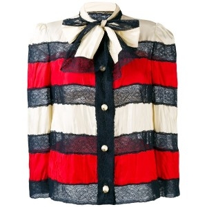 Gucci - striped bow jacket - women - シルク/ポリアミド - 42