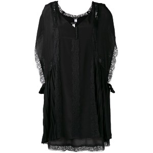 Twin-Set - pleated detail lace dress - women - ポリアミド/ポリエステル - XS