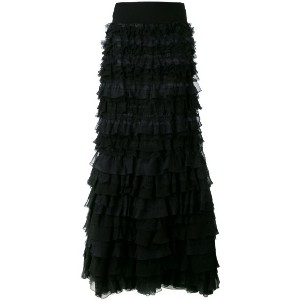 Giambattista Valli - long off the shoulder ruffle dress - women - シルク/スパンデックス/ビスコース - 40