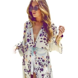 Ulamore Womens Floral Printed Chiffon Kimono Cardigan Coat Tops Blouse Cover up