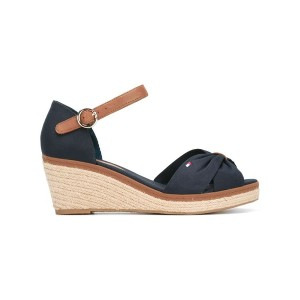Tommy Hilfiger - peep toe wedges - women - コットン/レザー/Tactel/rubber - 39