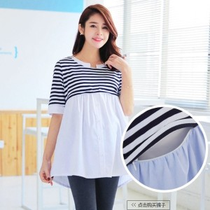 Cotton Nursing Tops Breast Feeding Maternity Tee For Feeding Clothes For Pregnant Women Clothing Gra