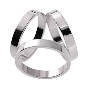 Maikun Scarf Ring Modern Simple Design Triple-ring Scarf Ring White Gold Color