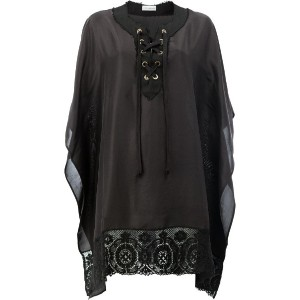 Faith Connexion - embroidered tunic - women - シルク/コットン/リネン/ポリアミド - XS