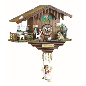 Black Forest Clock Swiss House with turning goats, incl. battery [並行輸入品]
