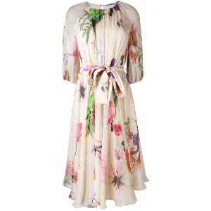 Blumarine - floral print flared dress - women - シルク - 40