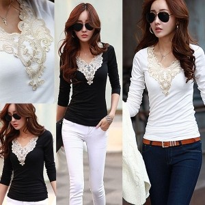 Women Patchwork long sleeve embroidery Slim Bottoming Shirt Large Size T shirt Blouse Tops