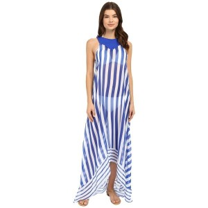 サハ SAHA レディース 水着 ビーチウェア【Urania Maxi Asymmetric Dress Cover-Up】Blue/White Stripes