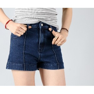 ハイピンタックディープブルー女子ショートパンツ- This is attractive short pants having washing deep blue color emphasizing...