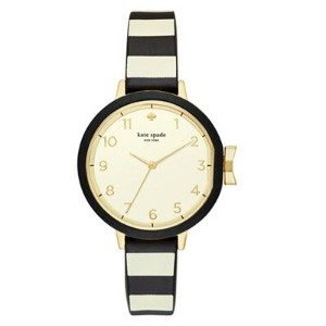 ケイトスペード 腕時計 Kate Spade KSW1313 Park Row Black & Ivory Silicone Strap Watch 34mm (Black/White) ストライプ...