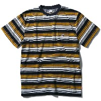 FUCT SSDD 半袖 パイル地 Tシャツ ファクト STRIPED FRENCH TERRY TEE black×yellow(ボーダー柄)スケボー SKATE SK8 スケートボード HARD...