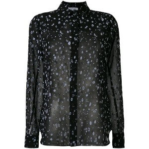 Carven - splatter print sheer shirt - women - シルク/ポリエステル - 38