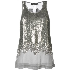 Twin-Set - sequin embellished tank top - women - ビスコース - 42