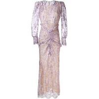 Alessandra Rich - long-sleeved lace gown - women - ポリアミド/スパンデックス/メタリックファイバー - 40