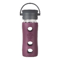 Lifefactory 12-Ounce Insulated Glass Hot Tea & Coffee Travel Mug with Cafe Cap, Plum by Lifefactory