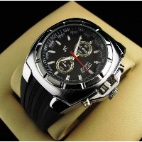 Vogue V6 Strips Hour Marks Round Dial Silicone Watch Men Man Luxury Quartz Wrist Watch for Gift