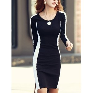 Black Long Sleeve Ladies Fashion Round Neck Korean Style Splicing Color Slim Sexy Cotton Dress One S