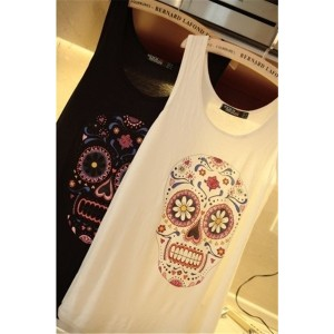 Womans Fashion Clothes 2013 Summer Skull Print Slim Vests Brand T-shirts ONE Size ONLY