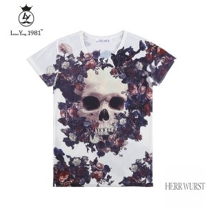 Skull Floral White Unisex Style 3D Printed T shirts XS / S / M / L / XL