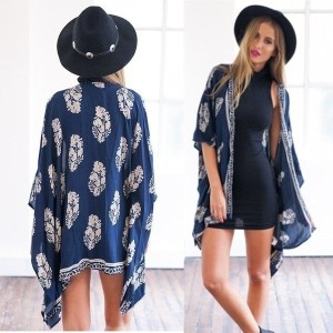 Fashion Women Boho Fringe Kimono Cardigan Tassels Shawl Bikini Beach Cover Up Cape Jacket New Floral