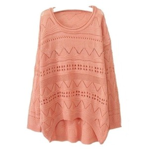 Pink Cut Out Knitted Jumpers with High Low Hem
