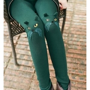 Cute Cat Print Embroidery Leggings
