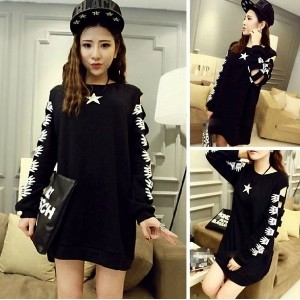 Autumn and Winter Warm Coat Long Sleeve Mickey Hollow Sleeve Long Paragraph Sweater Dress Long-sleev