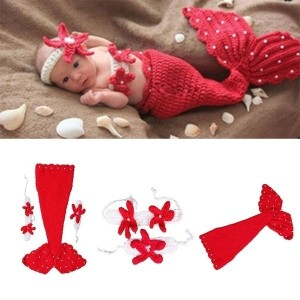 2014 New Newborn Baby Crochet Knit Costume Photography Prop Outfit Red Mermaid Infant Girl Boy Soft