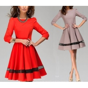 2015 New Women Clothes Autumn&amp Winter Ladies Fashion Solid Dress Half sleeve O-neck Work Wear Pro